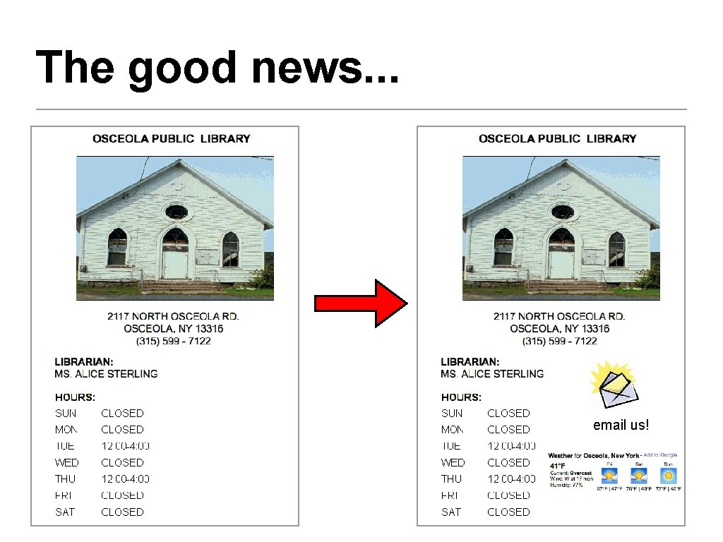 The good news. . . email us!