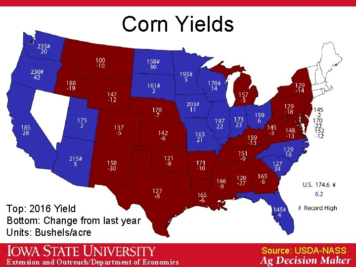Corn Yields Top: 2016 Yield Bottom: Change from last year Units: Bushels/acre Source: USDA-NASS