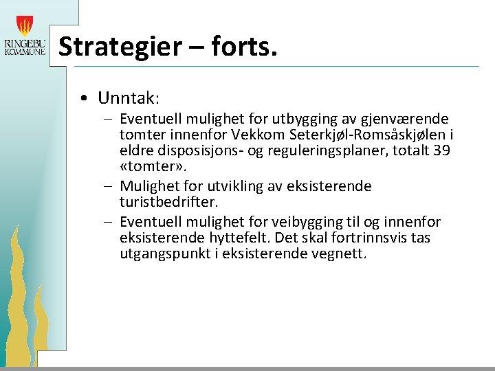 Strategier – forts. • Unntak: – Eventuell mulighet for utbygging av gjenværende tomter innenfor