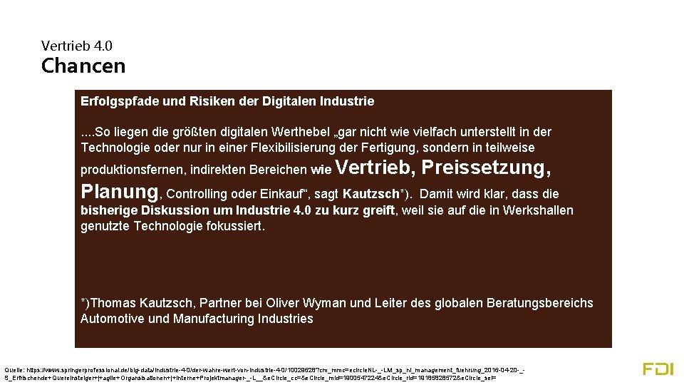 Vertrieb 4. 0 Chancen Erfolgspfade und Risiken der Digitalen Industrie. . So liegen die