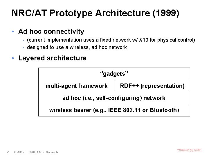 NRC/AT Prototype Architecture (1999) • Ad hoc connectivity • • (current implementation uses a