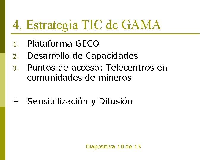 4. Estrategia TIC de GAMA 1. 2. 3. Plataforma GECO Desarrollo de Capacidades Puntos