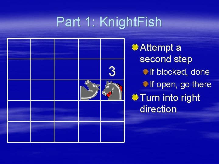 Part 1: Knight. Fish 3 Attempt a second step If blocked, done If open,