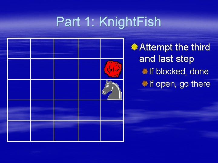Part 1: Knight. Fish 3 Attempt the third and last step If blocked, done