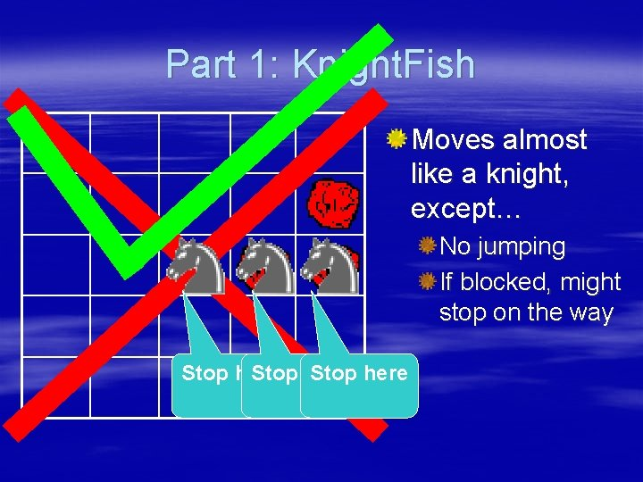 Part 1: Knight. Fish 3 Stop here Moves almost like a knight, except… No