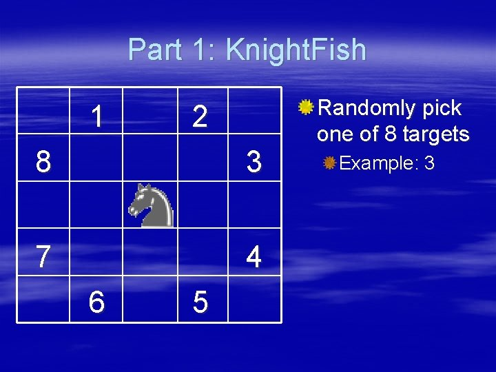 Part 1: Knight. Fish 1 2 8 3 7 4 6 5 Randomly pick
