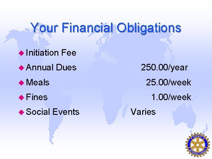 Your Financial Obligations u Initiation u Annual Fee Dues 250. 00/year u Meals 25.