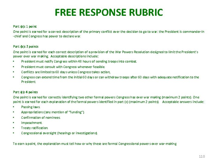 FREE RESPONSE RUBRIC Part (a): 1 point One point is earned for a correct