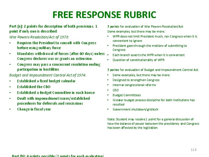 FREE RESPONSE RUBRIC Part (a): 2 points for description of both provisions. 1 point