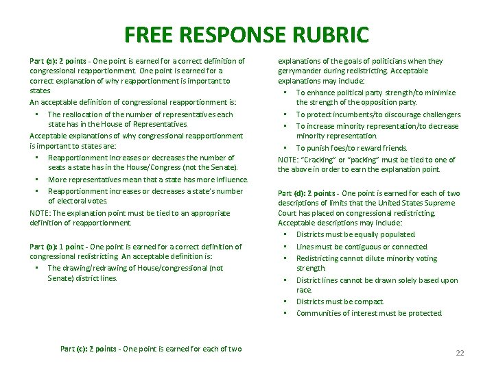 FREE RESPONSE RUBRIC Part (a): 2 points - One point is earned for a