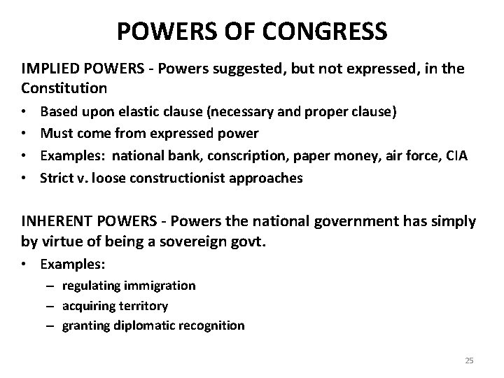 POWERS OF CONGRESS IMPLIED POWERS - Powers suggested, but not expressed, in the POWERS