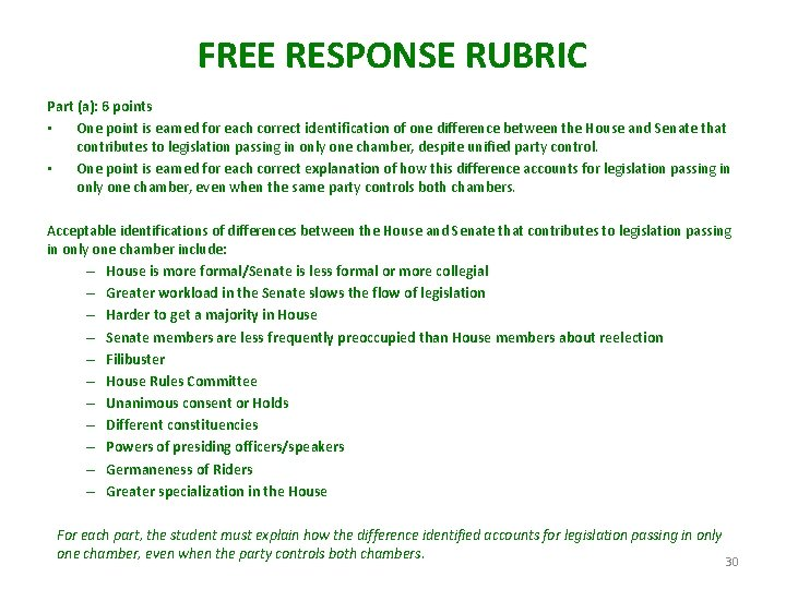 FREE RESPONSE RUBRIC Part (a): 6 points • One point is earned for each