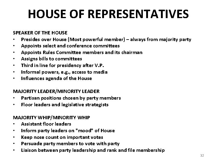 HOUSE OF REPRESENTATIVES SPEAKER OF THE HOUSE • Presides over House (Most powerful member)