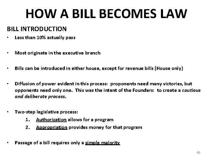 HOW A BILL BECOMES LAW BILL INTRODUCTION • Less than 10% actually pass •