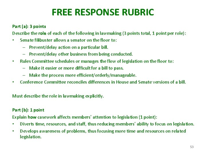 FREE RESPONSE RUBRIC Part (a): 3 points Describe the role of each of the