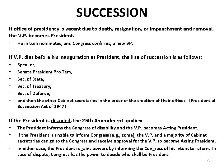 SUCCESSION If office of presidency is vacant due to death, resignation, or impeachment and