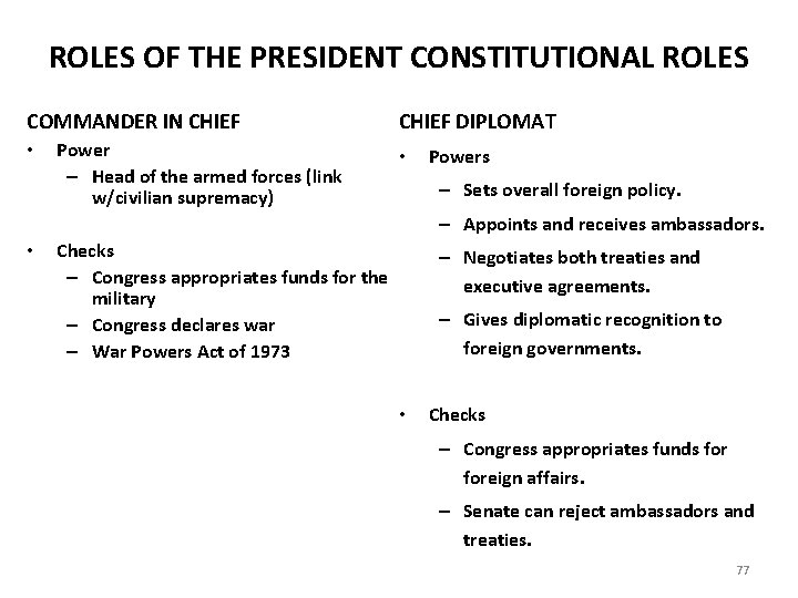 ROLES OF THE PRESIDENT CONSTITUTIONAL ROLES COMMANDER IN CHIEF • Power – Head of