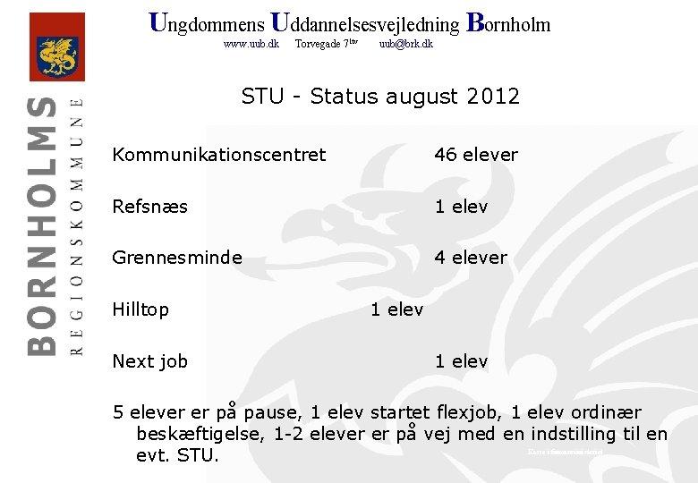 Ungdommens Uddannelsesvejledning Bornholm www. uub. dk Torvegade 71 tv uub@brk. dk STU - Status
