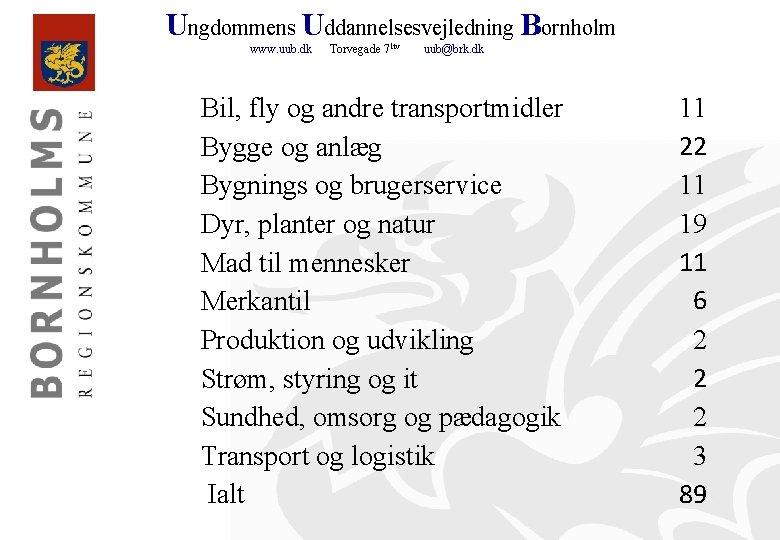 Ungdommens Uddannelsesvejledning Bornholm www. uub. dk Torvegade 71 tv uub@brk. dk Bil, fly og