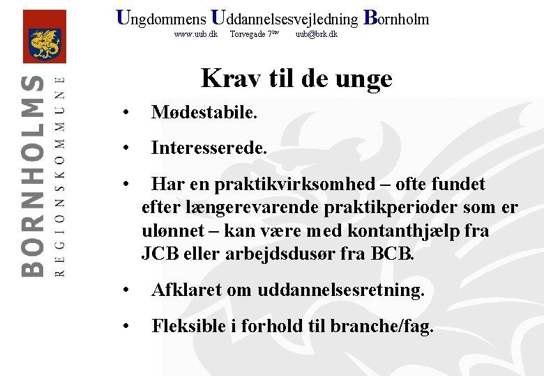 Ungdommens Uddannelsesvejledning Bornholm www. uub. dk Torvegade 71 tv uub@brk. dk Krav til de