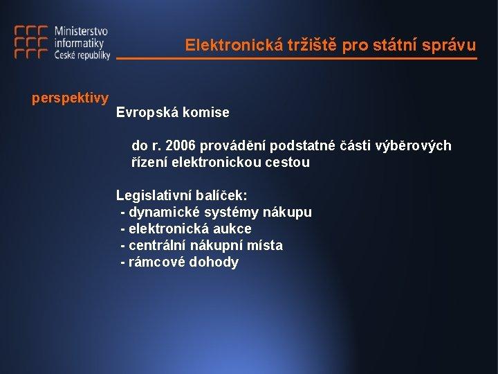 Elektronická tržiště pro státní správu perspektivy Evropská komise do r. 2006 provádění podstatné části