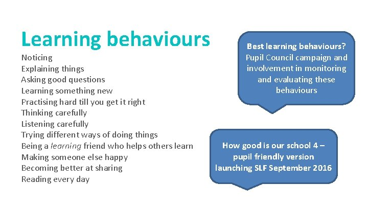 Learning behaviours Noticing Explaining things Asking good questions Learning something new Practising hard till