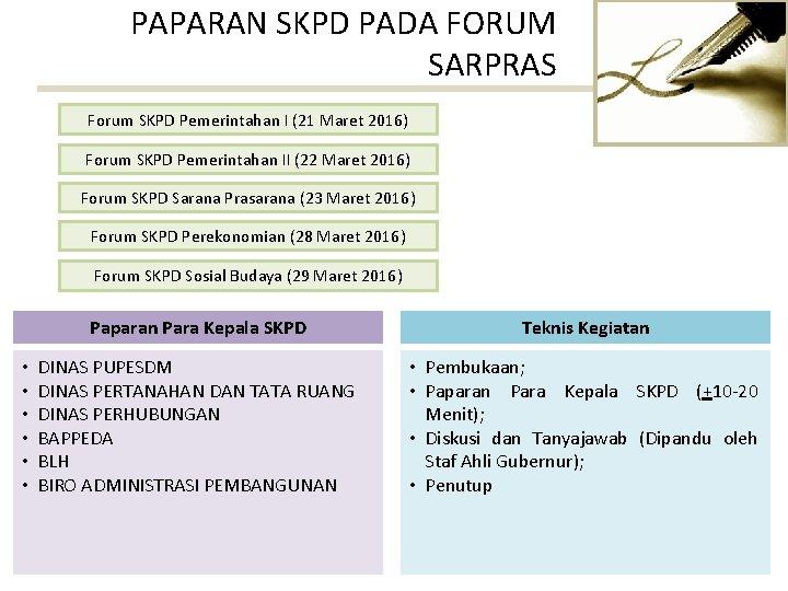 PAPARAN SKPD PADA FORUM SARPRAS Forum SKPD Pemerintahan I (21 Maret 2016) Forum SKPD