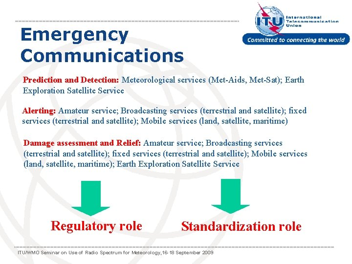 Emergency Communications Prediction and Detection: Meteorological services (Met-Aids, Met-Sat); Earth Exploration Satellite Service Alerting: