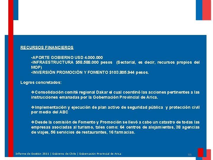 RECURSOS FINANCIEROS • APORTE GOBIERNO USD 4. 000 • INFRAESTRUCTURA $58. 588. 000 pesos