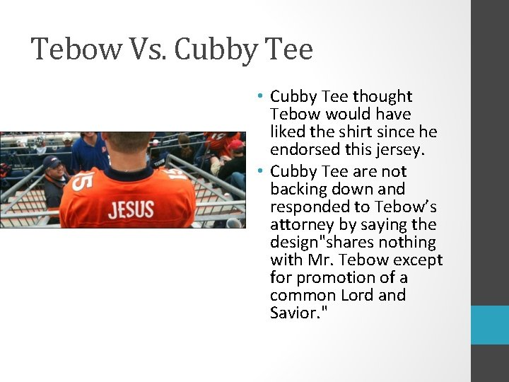 Tebow Vs. Cubby Tee • Cubby Tee thought Tebow would have liked the shirt