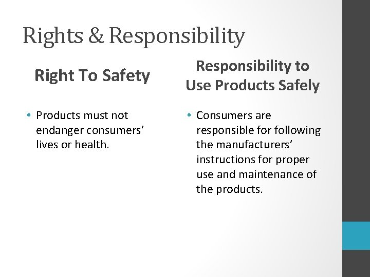 Rights & Responsibility Right To Safety • Products must not endanger consumers' lives or