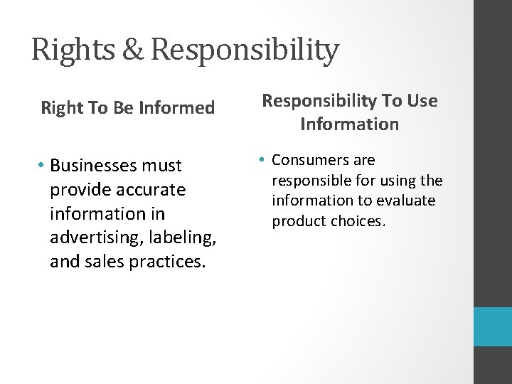Rights & Responsibility Right To Be Informed Responsibility To Use Information • Businesses must
