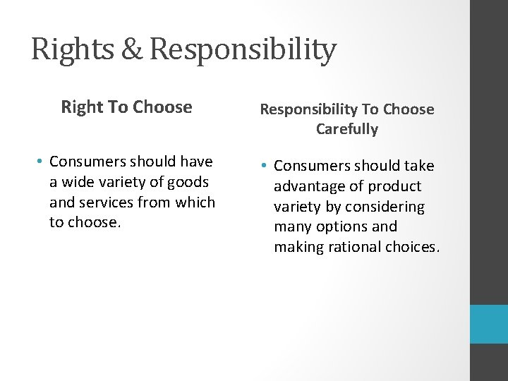 Rights & Responsibility Right To Choose Responsibility To Choose Carefully • Consumers should have
