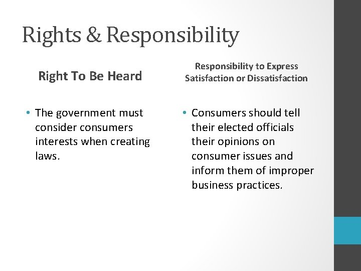 Rights & Responsibility Right To Be Heard • The government must consider consumers interests