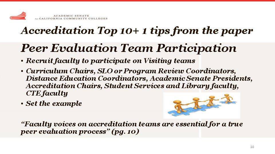 Accreditation Top 10+ 1 tips from the paper Peer Evaluation Team Participation • Recruit