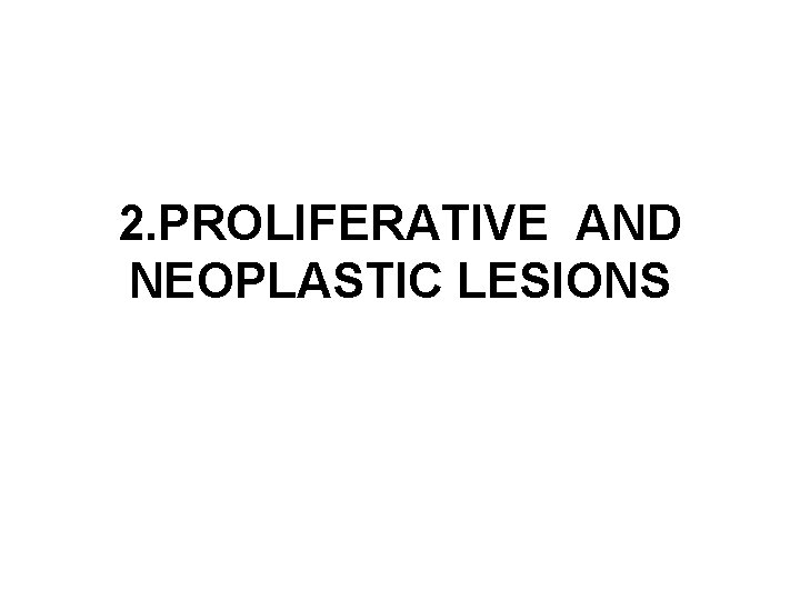 2. PROLIFERATIVE AND NEOPLASTIC LESIONS