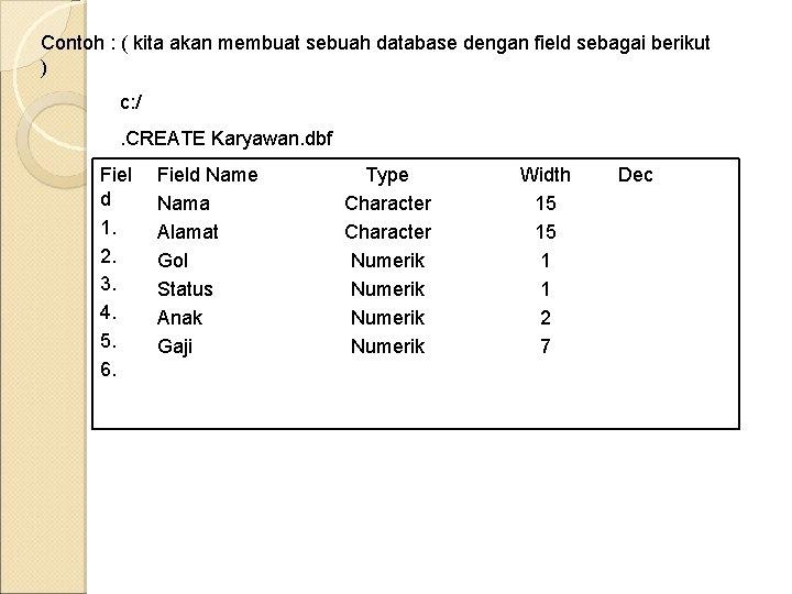 Contoh : ( kita akan membuat sebuah database dengan field sebagai berikut ) c: