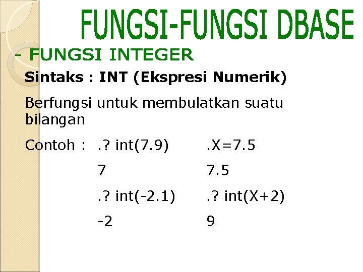 Sintaks : INT (Ekspresi Numerik) Berfungsi untuk membulatkan suatu bilangan Contoh : . ?