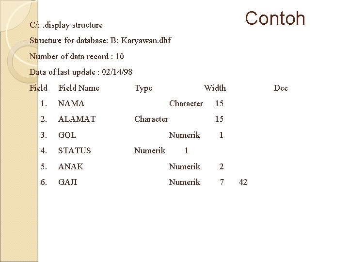 Contoh C/: . display structure Structure for database: B: Karyawan. dbf Number of data