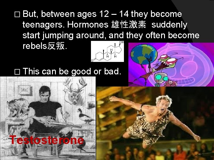 � But, between ages 12 – 14 they become teenagers. Hormones 雄性激素 suddenly start