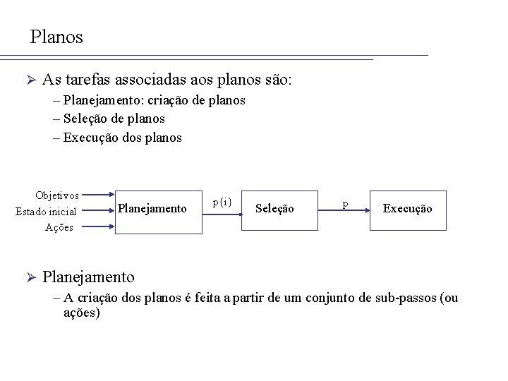 Planos Ø As tarefas associadas aos planos são: – Planejamento: criação de planos –