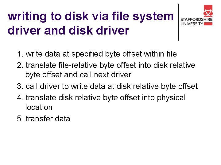 writing to disk via file system driver and disk driver 1. write data at