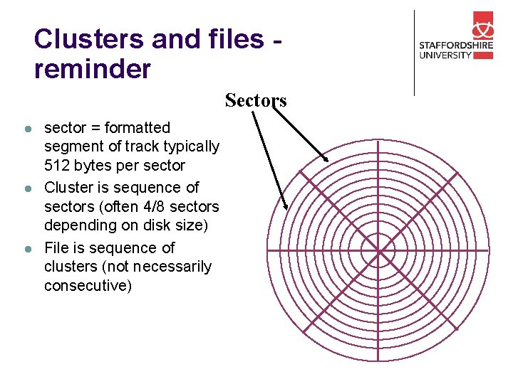 Clusters and files reminder Sectors l l l sector = formatted segment of track