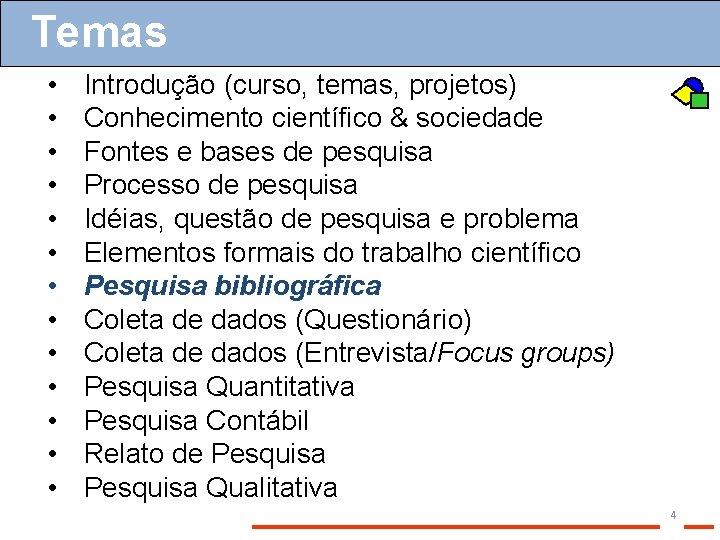 Temas • • • • Introdução (curso, temas, projetos) Conhecimento científico & sociedade Fontes