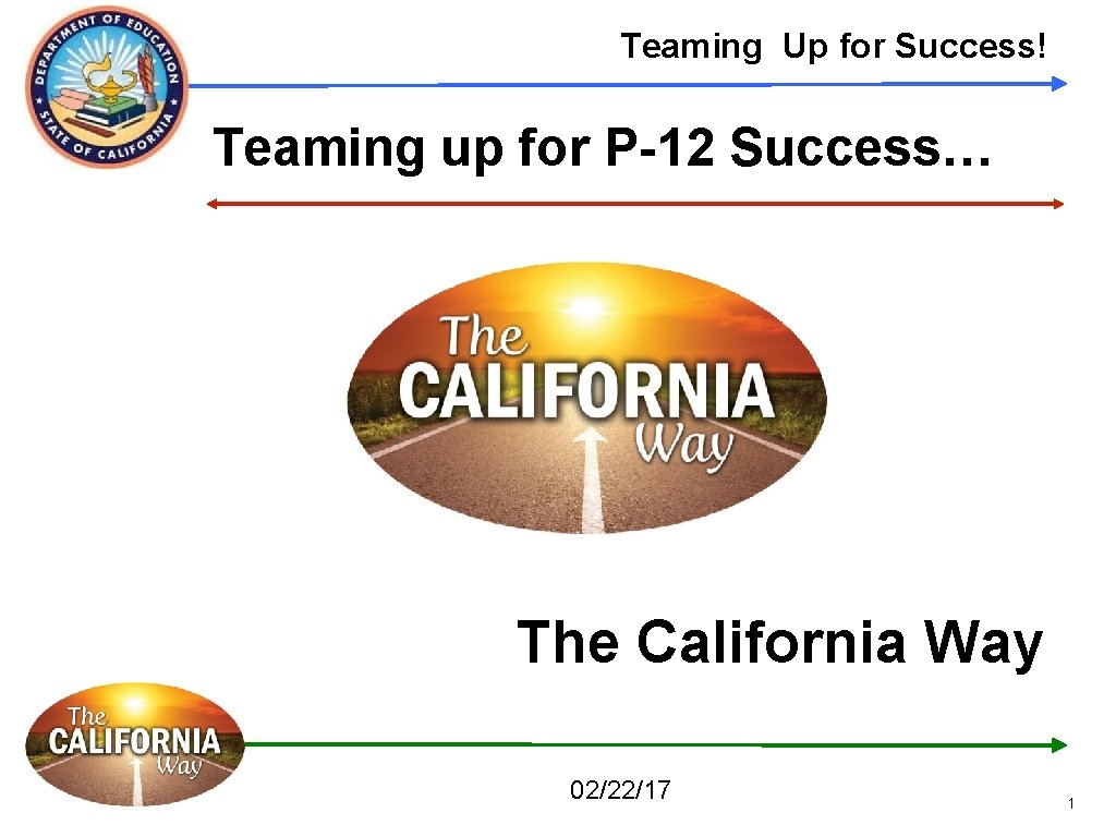 Teaming Up for Success! Teaming up for P-12 Success… The California Way 02/22/17 1