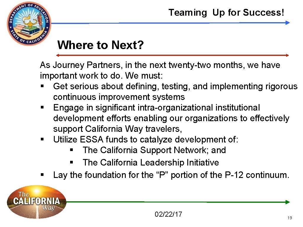Teaming Up for Success! Where to Next? As Journey Partners, in the next twenty-two