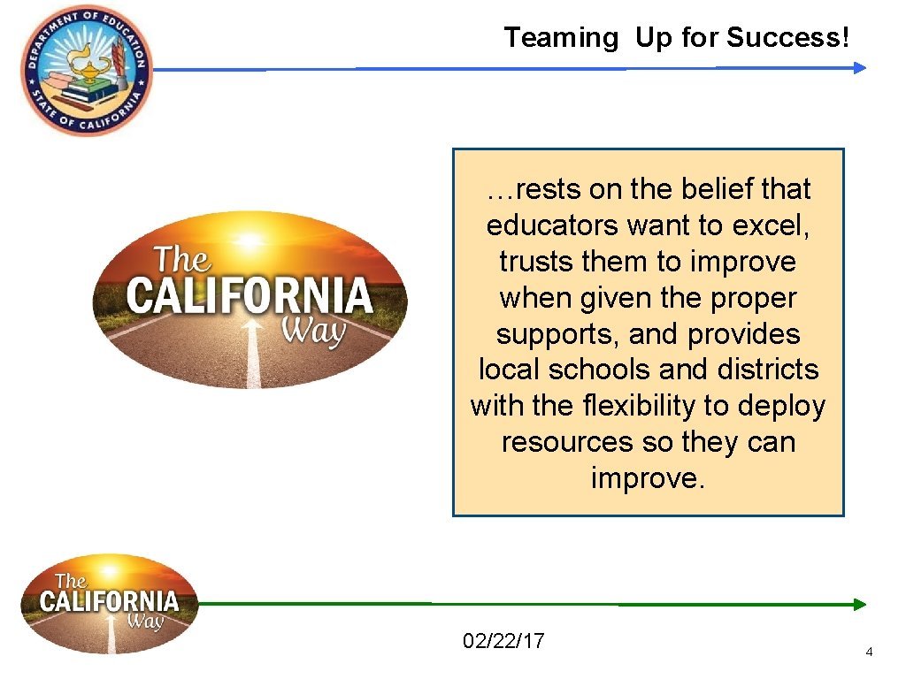 Teaming Up for Success! …rests on the belief that educators want to excel, trusts