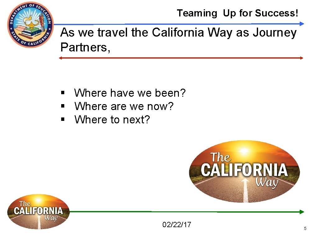 Teaming Up for Success! As we travel the California Way as Journey Partners, §