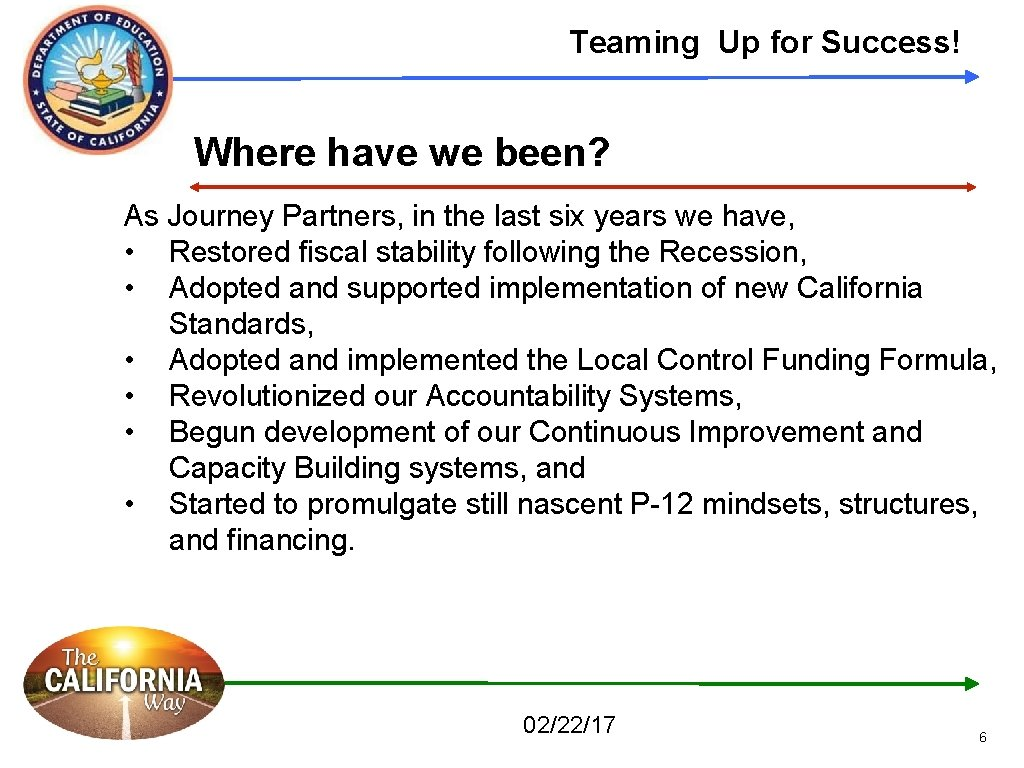 Teaming Up for Success! Where have we been? As Journey Partners, in the last
