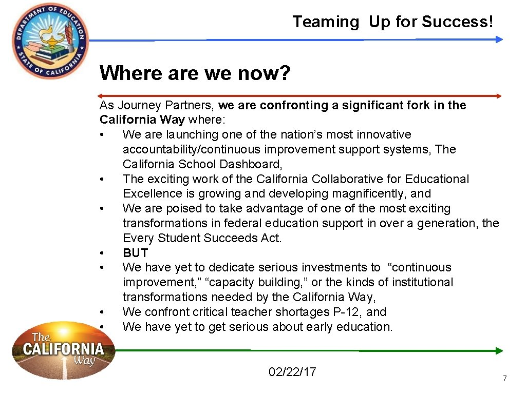 Teaming Up for Success! Where are we now? As Journey Partners, we are confronting